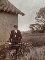 Jack Eggett and motorcycle, Attleborough, around 1917