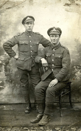 Stanley Ayres (right) in Lancashire Fusiliers uniform