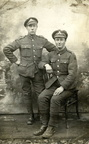 Stanley Ayres (right) in uniform: Royal Engineers or Third Norfolk Rifle Volunteer Corps, 1914