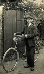 Stanley Ayres with bicycle, before World War I, c 1910