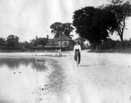 """Eastmoor Pit and 'The Shop'"", looking west, with female cyclist, ? before 1920"