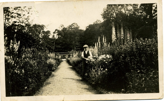 Stanley Ayres (gardener for Col. Seymour) at Barwick House gardens in 1930s