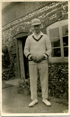 Stanley Ayres outside his house on The Green, 1934