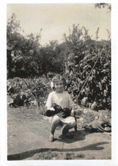 Doreen Bloy at Fern Cottage, Stanhoe, around 1935