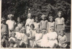Stanhoe School performance at the church fete, 1939 or 1940