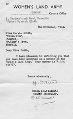 Land Army acceptance letter for Olive Smith, 1944