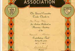 Certificate Norfolk & Suffolk Hospital Contributors Association 20 years 1937-57 Mr Percy Bloy. Loaned BG