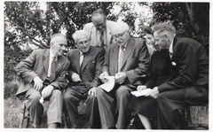 Hospital Sunday 1958: the important guests.  (l-r) Percy Bloy, ?, Mr Bussey (secretary of Norfolk & Norwich Hospital Contributors' Association), Fred Curry (Docking Methodist church), Salvation Army lady, Mr Wacey (Bircham).