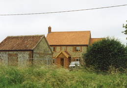 New houses behind barn, Docking Road, 1997