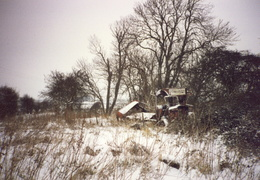 Derelict bus by gravel pit, 1993