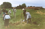 VE Day 50th anniversary, 1995: Mrs Symington planting tree