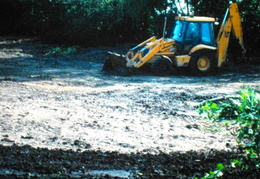 Clearing the pond (John Shackcloth), August 1995