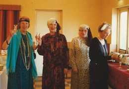 WI 1920s party. L-R: Gillian Beckett, President; Pat Tate, Vice-President; Joan Foskett, Secretary; Olga Ransom, Assistant Secretary, May 1997