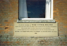 Reading Room memorial plaque to Mary Esther Hollway (1886), recently re-cut.