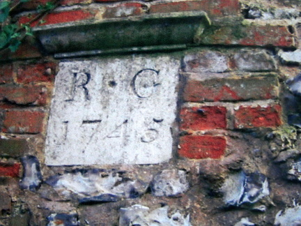 "Ivy Farm date stone ""RG 1745"" on barn."