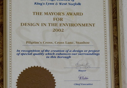 Borough Council Mayor's award for cross restoration, 2002