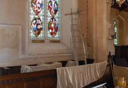 Stained glass window repairs, August 2012