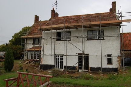 Ivy Farm with scaffolding for demolition, September 2010