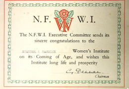 Stanhoe and Barwick WI Coming of Age card, 1944