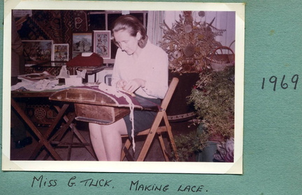 Gillian Tuck making lace, 1969