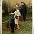 Mrs Tuck  planting a tree in the WI Hall car park. 1973
