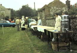 Queen's Silver Jubilee, WI members serve tea by the Pit, 1977