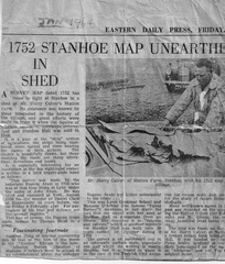 Newspaper article on the discovery of the Stanhoe 1752 land ownership map