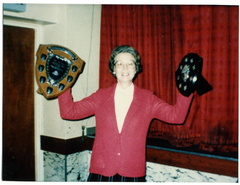 Mrs Olga Ransom, W I President and trophies OR