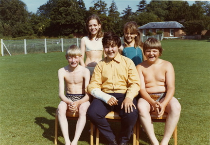 Stanhoe children: front row (l-r) Ian Holme, Stephen Ayres, Neil Barber; back row (l-r) Mary Fuller, Mandy Ireson