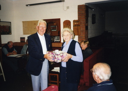 Roy Cooper presenting Ruby Steward on her retirement from Parish Council