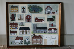 Embroidered picture of Stanhoe buildings by Eva Blackburn.