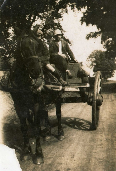 Walter Linge (Susannah's son) on the water cart and, possibly, Stanley Linge, eldest son of John Linge, riding the horse