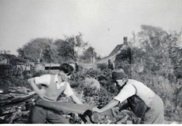 (left) Philip Bullock (husband of Doreen Bloy), (right) Percy Bloy.  Cottage no. 82, Stanhoe