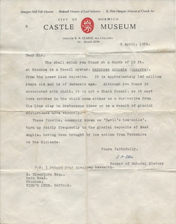 Norfolk Museums letter to Eric Blackburn from Ted Ellis