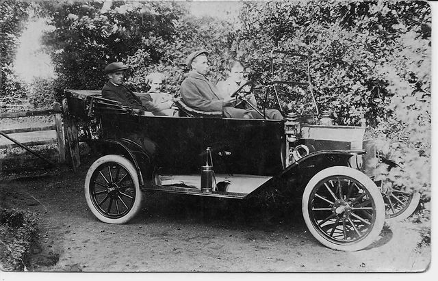 William Newstead and friends in his Model T Ford car