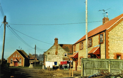 Cross Lane looking north, new houses and Methodist chapel, before 1989
