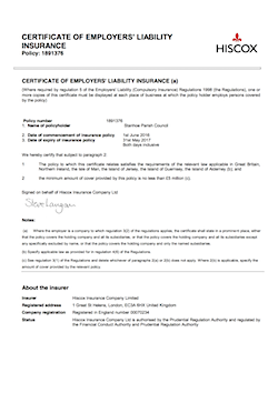 Certificate of employers liability insurance