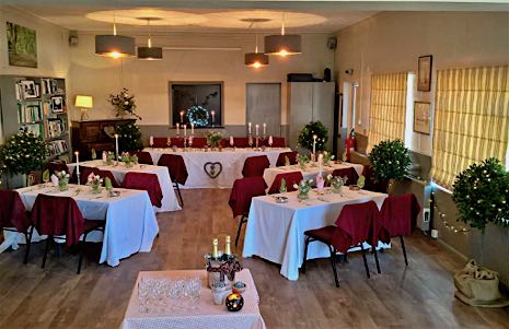 The Village Hall & Reading Room set out for a wedding reception