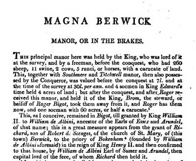 Magna Berwick page from Blomefield's History of Norfolk
