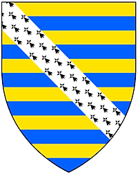Shield striped horizontally in blue and yellow, with a diagonal band of white spotted with black