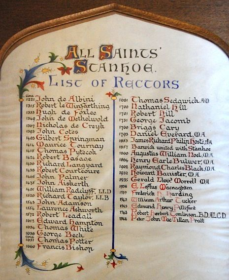 Hand-lettered list of Rectors with coloured illumination
