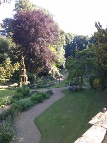 A view of the garden with its gothic fountain