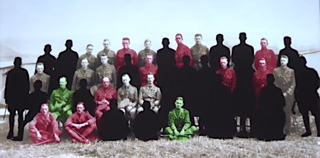 Colours on the original photo show who would end up dead, wounded or surviving the war