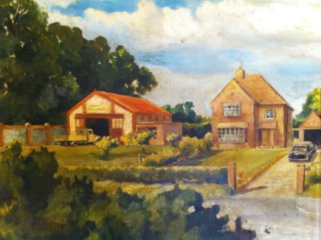 1950s painting of a new brick-and-tile house next door to single-story agricultural building