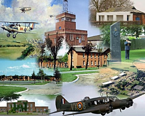 Collage of historic aircraft and buildings at RAF Bircham Newton