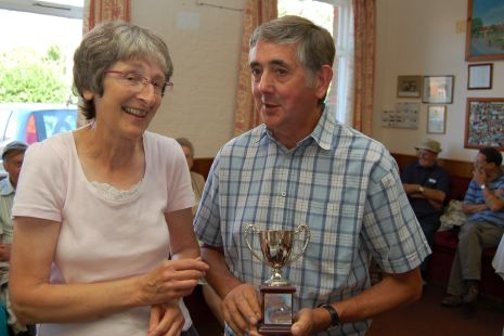 Flower Show organiser Rosemary Brown with Bill Punter, winner of the Men's Cup